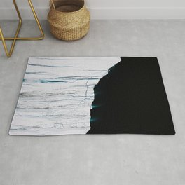 Black and White - Abstract minimal Iceberg aerial view in Greenland - Landscape Photography Rug