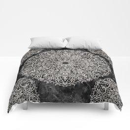 MANDALA ON BLACK MARBLE Comforters