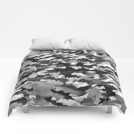 Foliage Abstract Pop Art In Monotone Black and White Comforters