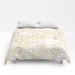 Elegant golden floral doodles design Comforters