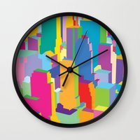 cityscape Wall Clocks featuring Cityscape by Glen Gould