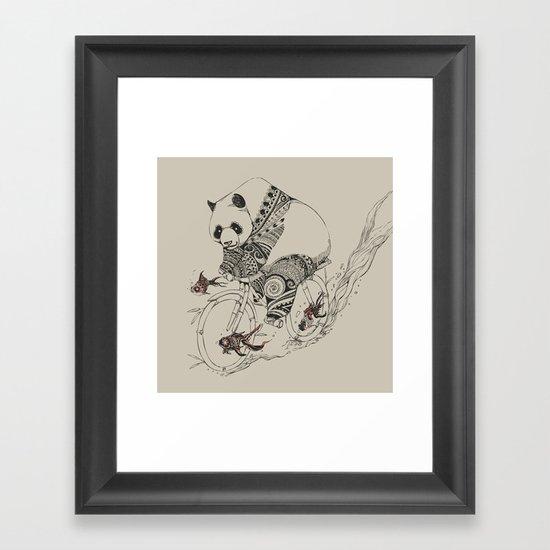 Panda and Follow Fish Framed Art Print