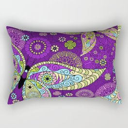 Colorful Butterflies and Flowers V5 Rectangular Pillow