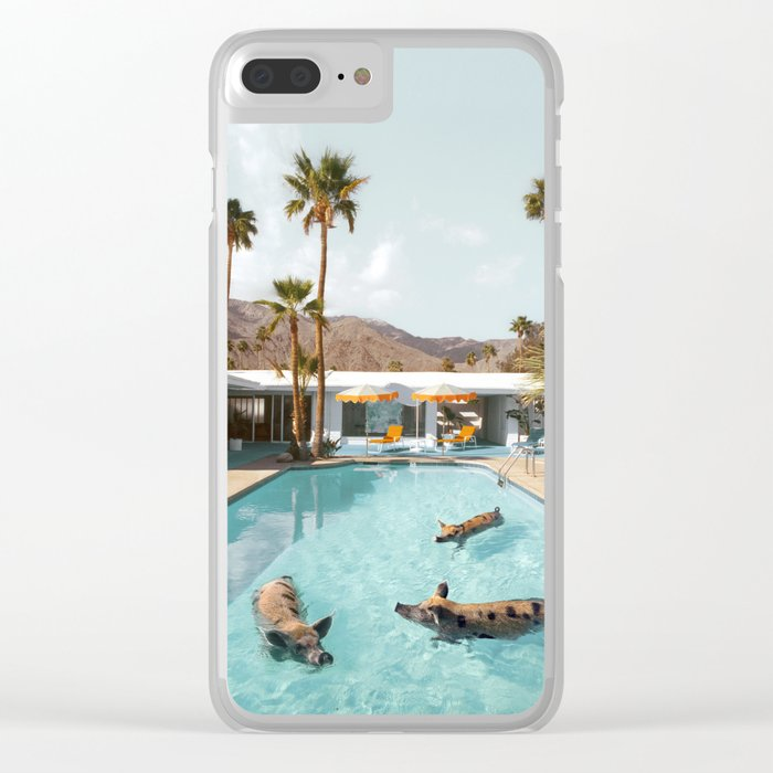 Pig Poolside Party Clear iPhone Case