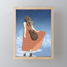 Guitar Girl Framed Mini Art Print