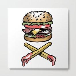 Cheeseburger Skull & Crossbones Metal Print