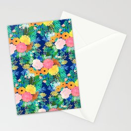 Pretty Pink & Orange Flowers Classic Blue Watercolor Paint Stationery Cards