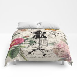 french country rose floral modern vintage dress mannequin paris fashion Comforters