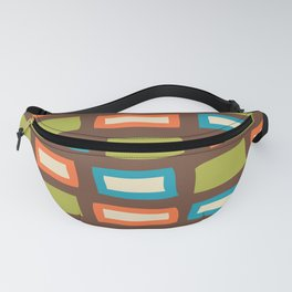 Mid Century Modern Abstract Squares Pattern 842 Brown Olive Orange and Turquoise Fanny Pack