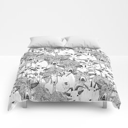 just goats black white Comforters