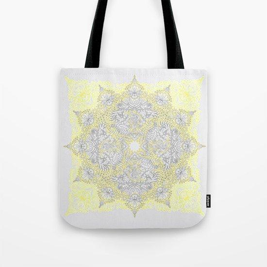 Sunny Doodle Mandala in Yellow & Grey Tote Bag