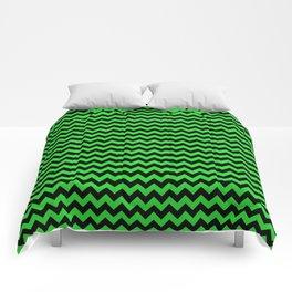 Dark Black and Bright Monster Green Halloween Chevron Stripes Comforters