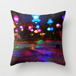 Teacups Blur at Night Throw Pillow