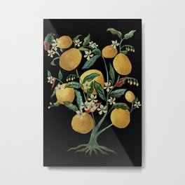 Lemon Tree Water Color on Black Metal Print