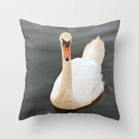 black swan Throw Pillows featuring Swan by Lynn Bolt