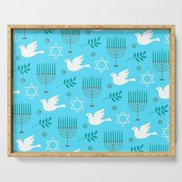 Hanukkah Menorah, Star Of David, And Doves Pattern Serving Tray