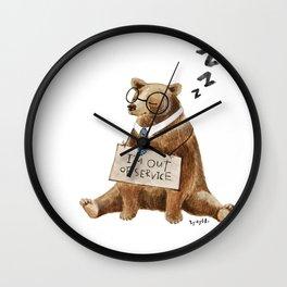 Sleepy bear Wall Clock