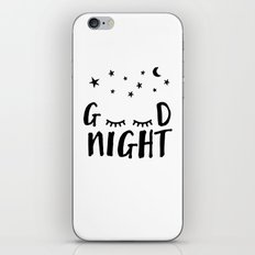 Good Night - Closed Eyes, Moon and Stars quote iPhone & iPod Skin