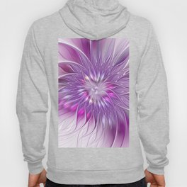 Pink Flower Passion, Abstract Fractal Art Hoody