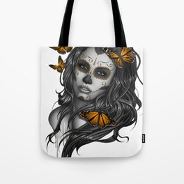 Sugar Skull Tattoo Girl with Butterflies Tote Bag
