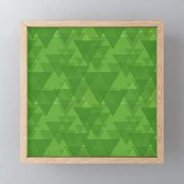 Gentle green triangles in intersection and overlay. Framed Mini Art Print