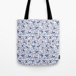 Delft Blue Humming Birds & Leaves Pattern Tote Bag