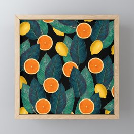 Lemons And Oranges On Black Framed Mini Art Print