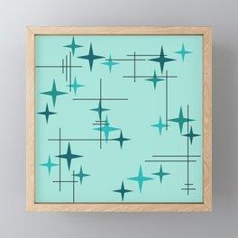 Mid Century Modern Stars Turquoise Framed Mini Art Print