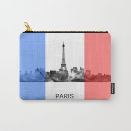 Paris, France skyline WB BW with French flag Carry-All Pouch