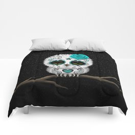 Adorable Teal Blue Day of the Dead Sugar Skull Owl Comforters