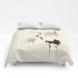 Oriental Red-Crowned Crane 002 Comforters
