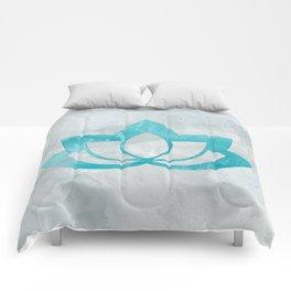 Aqua Lotus Flower on Gray Comforters