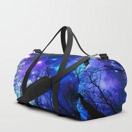 black trees purple blue space Duffle Bag