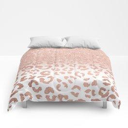 Trendy modern faux rose gold glitter ombre leopard pattern Comforters