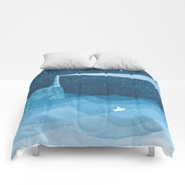 Lighthouse illustration Comforters