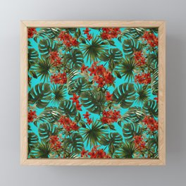 Aloha Flower Jungle Pattern Framed Mini Art Print