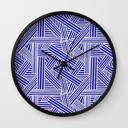 Sketchy Abstract (White & Navy Blue Pattern) Wall Clock
