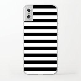 Stripes (Black & White Pattern) Clear iPhone Case