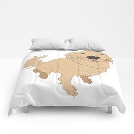 Golden Retriever Illustration on a White Background Comforters