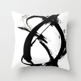 Brushstroke 7: a minimal, abstract, black and white piece Throw Pillow