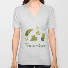 Cute Winter Icon with Cucumbers. Hand Drawn Scandinavian Style Unisex V-Neck