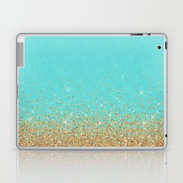 Sparkling gold glitter confetti on aqua teal damask background Laptop & iPad Skin