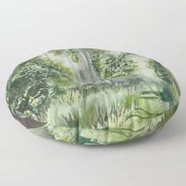 Path Through the Woods Watercolor Painting Floor Pillow