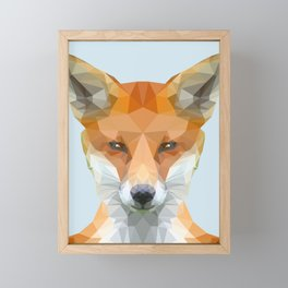 Low poly fox on blue/grey background Framed Mini Art Print