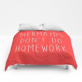 Mermaids Homework 2 Funny Quote Comforters