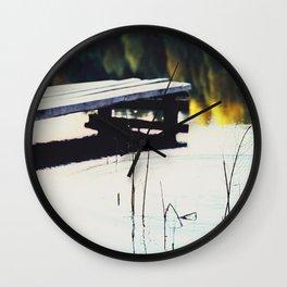 Autumn Lake, Color Film Photo, Analog Wall Clock