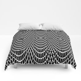 Black and white curvilinear design Comforters