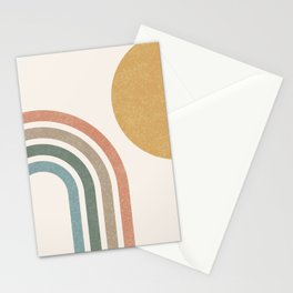 Mid Century Colorful Sun & Rainbow Stationery Cards
