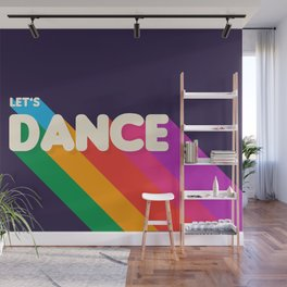 RAINBOW DANCE TYPOGRAPHY- let's dance Wall Mural