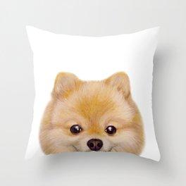 Pomeranian Dog illustration original painting print Throw Pillow